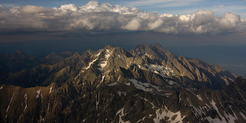Aerial view of the massif of Mount Gerlach (2665m als), the highest peak of the Tatras. High Tatras, Slovakia. June 2009. Mission: Ticha