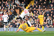 Fulham striker Sone Aluko (24) scoring 1-0 during the EFL Sky Bet Championship match between Fulham and Preston North End at Craven Cottage, London, England on 4 March 2017. Photo by Matthew Redman.