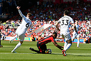 Callum Wilson (13) of AFC Bournemouth is fouled by Alfie Mawson (6) of Swansea City which led to the goal scored by Ryan Fraser (24) of AFC Bournemouth during the Premier League match between Bournemouth and Swansea City at the Vitality Stadium, Bournemouth, England on 5 May 2018. Picture by Graham Hunt.