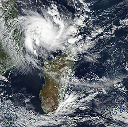 April 24, 2019 - Mozambique Channel - Tropical Cyclone Kenneth. Just five weeks after enduring the worst natural disaster in its recorded history, Mozambique is facing another serious storm threat. In March 2019, Tropical Cyclone Idai brought two rounds of devastating rainfall, a 2.5-meter storm surge, and fierce winds, flooding large portions of Mozambique and causing landslides as far inland as Zimbabwe. An estimated 1,000 people died in eastern Africa from the storm, and the damage to homes, businesses, and infrastructure was counted in the hundreds of millions of dollars. (Credit Image: © NASA Earth/ZUMA Wire/ZUMAPRESS.com)