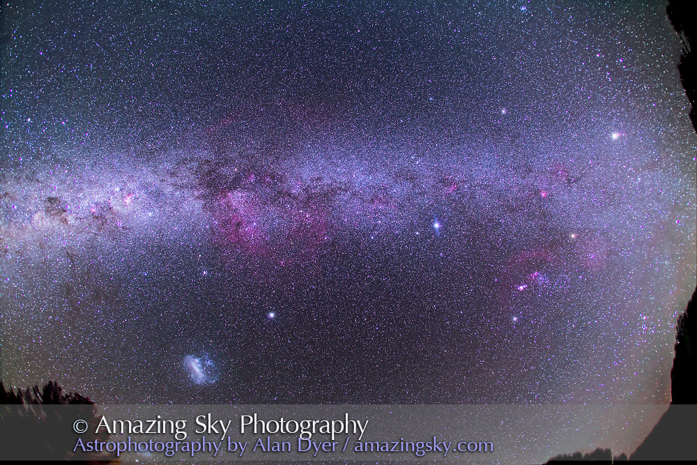 An ultrawide-angle view of the Milky Way seen from the southern hemisphere, from Australia, March 21, 2014. This takes in most of the far southern Milky Way, from Orion at far right, to Canis Major, Puppis, Vela, and to Carina and Crux at far left. Jupiter is the bright object at upper right. Sirius and Canopus are right and left of centre. The Large Magellanic Cloud is at lower left. The vast Gum Nebula complex is at centre. <br /> <br /> This is a stack of 5 x 5 minute exposures at f/4 with the Canon 15mm lens and Canon 5D MkII at ISO 1000. I shot this March 21, 2014 from the Warrumbungles Motel, Coonabarabra, NSW, Australia.