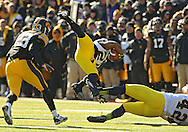 November 23 2013: Michigan Wolverines wide receiver Jeremy Gallon (21) goes flying through the air with the ball during the second quarter of the NCAA football game between the Michigan Wolverines and the Iowa Hawkeyes at Kinnick Stadium in Iowa City, Iowa on November 23, 2013. Iowa defeated Michigan 24-21.