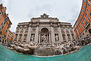 Fisheye view of Treve Fountain in Rome, Italy. (Sam Lucero photo)