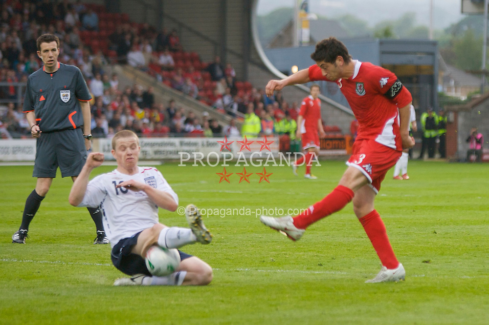WREXHAM, WALES - Thursday, May 15, 2008: Wales' captain Joe Jacobson and England's Gary Leadbitter during the Under-21 Friendly match at the Racecourse Ground. (Photo by David Rawcliffe/Propaganda)