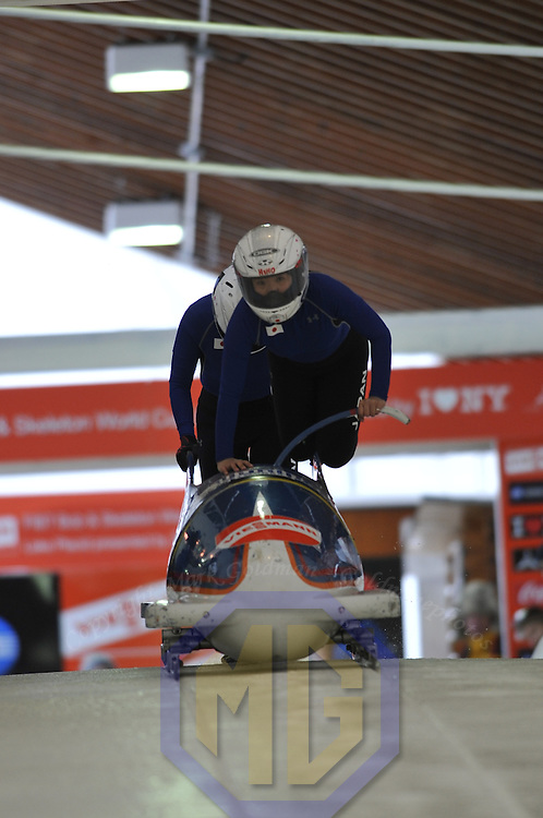 15 December 2007:  The Japan 1 sled driven by Manami Hino with Tomoe Satoh on the brakes competes at the FIBT World Cup Women's bobsled competition on December 15, 2007 at the Olympic Sports Complex in Lake Placid, NY.  The race was won by the Germany 1 sled driven by Sandra Kiriasis with Romy Logsch on the brakes.