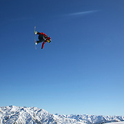 Max Parrot, Canada, in action during the Snowboard Slopestyle Men's  competition at Snow Park, New Zealand during the Winter Games. Wanaka, New Zealand, 21st August 2011. Photo Tim Clayton