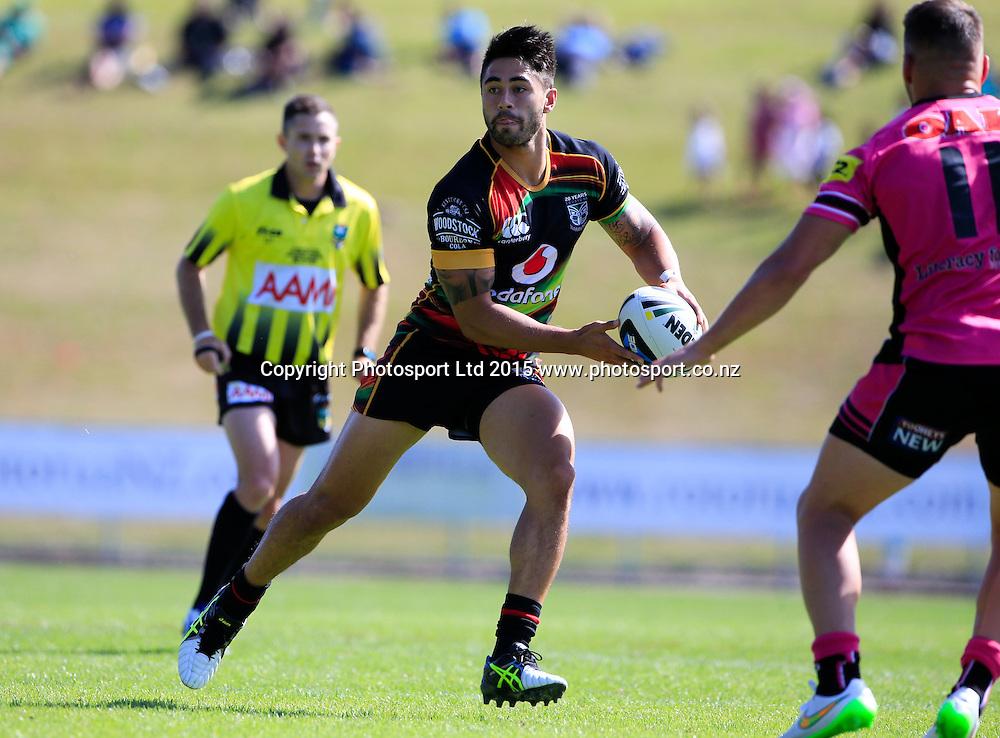 Warrior's Shaun Johnson. NRL trial match, Vodafone Warriors vs Penrith Panthers, International Stadium, Rotorua, New Zealand. Saturday, 14 February, 2015. Photo: John Cowpland / www.photosport.co.nz