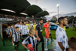 Players of both teams entering the pitch before football match between NŠ Mura and NK Maribor in 4th Round of Prva liga Telekom Slovenije 2019/20, on Avgust 3, 2019 in Fazanerija, Murska Sobota, Slovenia. Photo by Blaž Weindorfer / Sportida