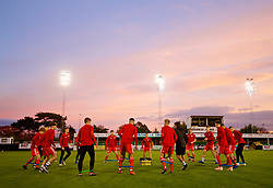 RHYL, WALES - Wednesday, November 14, 2018: Wales players during the pre-match warm-up before the UEFA Under-19 Championship 2019 Qualifying Group 4 match between Wales and Scotland at Belle Vue. (Pic by Paul Greenwood/Propaganda)