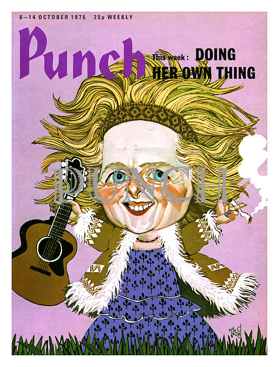 Punch cover 8 - 14 October 1975. Doing her own thing. (Margaret Thatcher as pot smoking hippy with guitar)