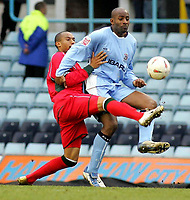 Photo: Paul Thomas. Coventry City v Cardiff City, Highfield Road, Coventry,  Coca Cola Chamionship. 12/03/2005. Richard Langley tackles Dele Adelbola.