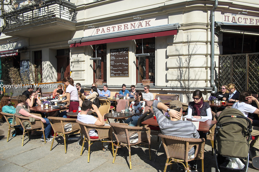 Pavement cafe in Prenzlauer Berg district of Berlin Germany
