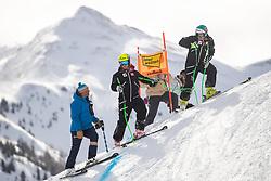 12.02.2020, Zwölferkogel, Hinterglemm, AUT, FIS Weltcup Ski Alpin, Abfahrt, Herren, 1. Training, Streckenbesichtigung, im Bild v.l. Hannes Trinkl (FIS Renndirektor Weltcup Ski Alpin Herren), Daniel Danklmaier (AUT), Vincent Kriechmayr (AUT) // f.l. Hannes Trinkl Race Director World Cup Men Speed Events of FIS Daniel Danklmaier of Austria Vincent Kriechmayr of Austria during the course inspection before his 1st training run of men's Downhill of FIS Ski Alpine World Cup at the Zwölferkogel in Hinterglemm, Austria on 2020/02/12. EXPA Pictures © 2020, PhotoCredit: EXPA/ Johann Groder