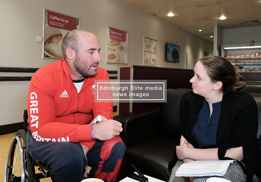 Sainsbury's Store with Paralympic archer Nathan MacQueen, Livingston, Scotland, Thursday 26th September 2019<br /> <br /> Athlete Biography: Nathan MacQueen              <br /> <br /> AGE: 28 YEARS<br /> <br /> CURRENT CLUB: BALBARDIE ARCHERS<br /> <br /> MacQueen was involved in a near-fatal motorcycle accident aged 17 and was left paralysed. Before the crash, he had played rugby for Scotland at under-21 level and was part of the Scottish archery team. He has competed at the Summer Paralympics.<br /> <br /> Alex Todd   Sportpix