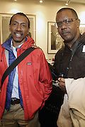 l to r: Burroughs York, Jr. and Jamel Shabazz at The Opening for Deb Willis' new book ' Posen Beauty ' held at NYU Tisch School of the Arts on October 8, 2009 in New york City..