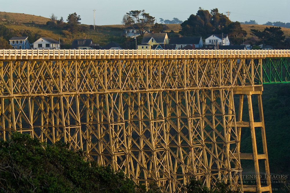 Sunset light on the trestle Bridge over the Albion River, Albion, Mendocino County Coast, California