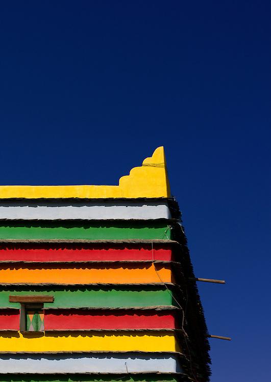 Saudi Arabia, Bin Hamsan house in Khamis Mushayt, Asir area. Many of the modern houses are still brightly painted inside.