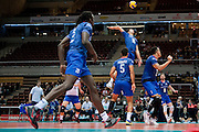 (R) Kevin Tillie from France spikes the ball during the 2013 CEV VELUX Volleyball European Championship match between France and Slovakia at Ergo Arena in Gdansk on September 20, 2013.<br /> <br /> Poland, Gdansk, September 20, 2013<br /> <br /> Picture also available in RAW (NEF) or TIFF format on special request.<br /> <br /> For editorial use only. Any commercial or promotional use requires permission.<br /> <br /> Mandatory credit:<br /> Photo by &copy; Adam Nurkiewicz / Mediasport