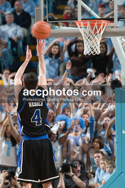 07 February 2006: Senior point guard J.J. Redick (4) takes foul shot while being distracted by UNC fans during a Duke Blue Devils 87-83 victory over the North Carolina Tarheels, in the Dean Smith Center in Chapel Hill, NC.