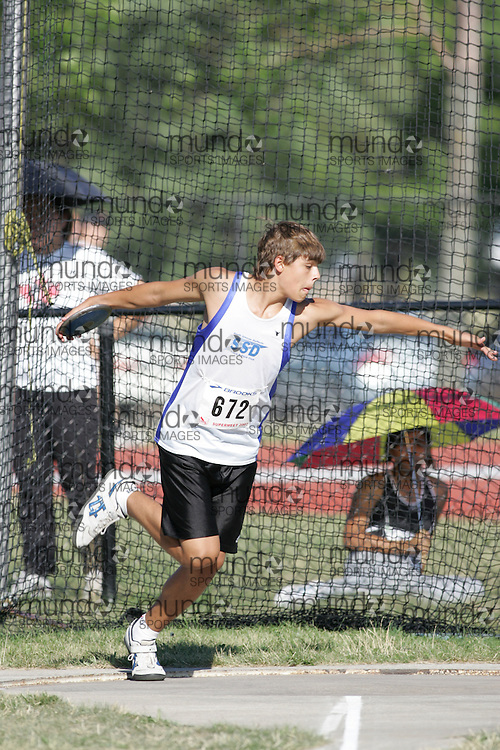 Justin Massar competing in the juvenile boys discus at the 2007 OTFA Supermeet II. The Ontario Track and Field Association Bantam-Midget-Juvenile Championships were held in Toronto from August 3rd to 5th.