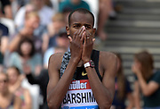 Jul 21, 2019; London, United Kingdom; Mutaz Essa Barshim (QAT) celebrates after placing second in the high jump at 7-5 1/4 (2.27m) during the London Anniversary Games at London Stadium at  Queen Elizabeth Olympic Park.