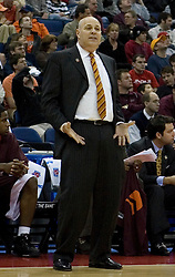 Virginia Tech Hokies Head Coach Seth Greenberg argues a call from the sidelines.  The #4 seed Southern Illinois Salukis defeated the #5 seed Virginia Tech Hokies 63-48 in the second round of the Men's NCAA Basketball Tournament at the Nationwide Arena in Columbus, OH on March 18, 2007.