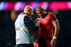 Jonathan Joseph of England is assessed for an injury - Mandatory byline: Patrick Khachfe/JMP - 07966 386802 - 18/09/2015 - RUGBY UNION - Twickenham Stadium - London, England - England v Fiji - Rugby World Cup 2015 Pool A.