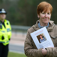 Tayside Police Re-construction of the last sighting of 77 year Elizabeth Stevenson who was last seen in the A9 Loch Faskally area of Pitlochry on Tuesday February 21st 2012 at 2.30pm.....Pictured is Elizabeth's daughter Fiona Kerr who played the part of her mother for the re-enactment in the hope that it will jog people's memories.<br /> Picture by Graeme Hart.<br /> Copyright Perthshire Picture Agency<br /> Tel: 01738 623350  Mobile: 07990 594431