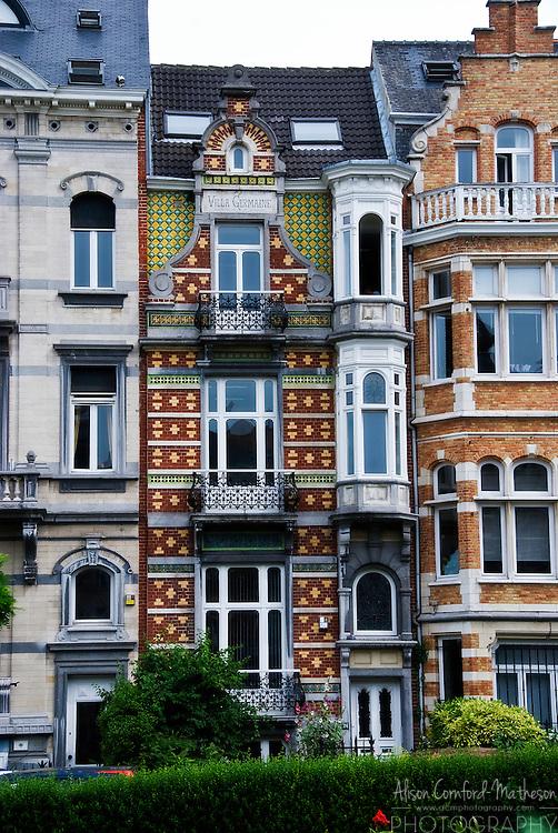 Ambiorix Square in Brussels, Belgium is famous for its Art Nouveau Buildings.