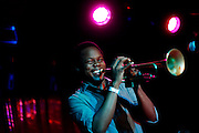 Trumpeter  Ambrose Akinmusire performs at Sullivan Hall on January 9,  2010 in New York City. photo by Joe Kohen for The New York Times