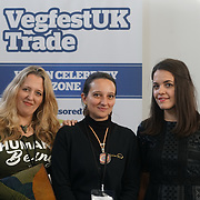 London, England, UK. 20th October 2017. Jay Charlton,Natalia Watts, Sascha Camilli talk of the  Ethical Vegan Fashion at the Vegen Celebrity Zone.