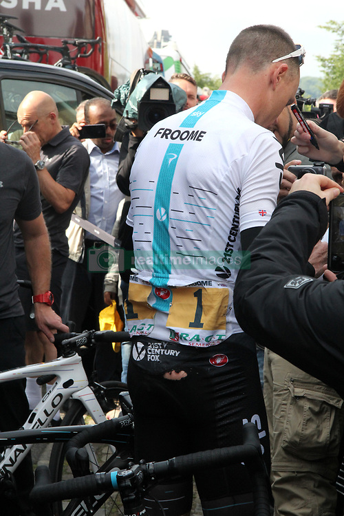 Team Sky's Chris Froome with a tear in his shorts after a fall during Stage Two of the 2017 Tour de France in Liege, Belgium.