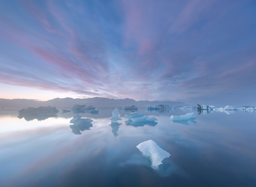 Twilight skies over the ice lagoon of Jökulsárlón, Iceland.
