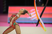 Dina Averina, Russia, during the 33rd European Rhythmic Gymnastics Championships at Papp Laszlo Budapest Sports Arena, Budapest, Hungary on 20 May 2017. The Russian Team won the Gold Medal. Photo by Myriam Cawston.