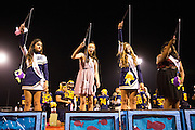 Vyhan Ngo, second from left, reacts to winning the Homecoming Queen during the Homecoming halftime festivities against Saratoga at Milpitas High School in Milpitas, California, on October 10, 2014. Milpitas beat Saratoga 49-0. (Stan Olszewski/SOSKIphoto)
