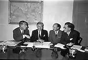 27/07/1962<br /> 07/27/1962<br /> 27 July 1962<br /> Aer Lingus- Irish International Airlines AGM, press conference at General Manager's Office, O'Connell Street, Dublin.  <br /> Picture shows (l-r): Mr J.F. Dempsey, General Manager; Mr Patrick Lynch, Chairman of Boards of Directors; Mr M.J. Dargon, Assistant General Manager (Commercial) and Mr P.J. Brennan, Secretary at a press conference after the meeting.