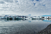 Wideangle view of Jökulsárlón, the glacial lagoon at the base of Vatnajokull.