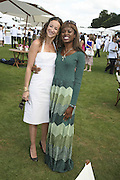 Leah Wood and June Sarpong, Cartier International Polo. Guards Polo Club. Windsor Great Park. 30 July 2006. ONE TIME USE ONLY - DO NOT ARCHIVE  © Copyright Photograph by Dafydd Jones 66 Stockwell Park Rd. London SW9 0DA Tel 020 7733 0108 www.dafjones.com