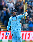 150 - Jason Roy of England celebrates scoring 150 during the ICC Cricket World Cup 2019 match between England and Bangladesh the Cardiff Wales Stadium at Sophia Gardens, Cardiff, Wales on 8 June 2019.