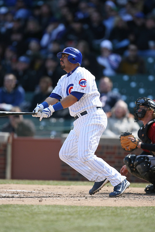 CHICAGO - APRIL 4:  Geovany Soto #18 of the Chicago Cubs bats during the game against the Houston Astros at Wrigley Field in Chicago, Illinois on April 4, 2008.  The Astros defeated the Cubs 4-3.  (Photo by Ron Vesely)