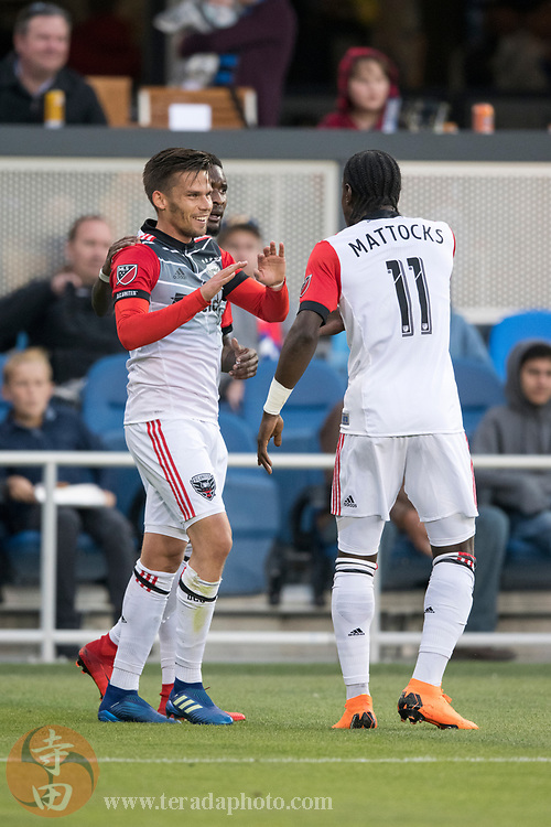May 19, 2018; San Jose, CA, USA; D.C. United midfielder Zoltan Stieber (18) and forward Darren Mattocks (11) during the first half against the San Jose Earthquakes at Avaya Stadium.