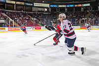 KELOWNA, CANADA - NOVEMBER 21: Leif Mattson #28 of the Kelowna Rockets stick checks Nikita Sedov #27 of the Regina Pats  on November 21, 2018 at Prospera Place in Kelowna, British Columbia, Canada.  (Photo by Marissa Baecker/Shoot the Breeze)