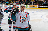 KELOWNA, CANADA - MARCH 4: Gordie Ballhorn #4 of the Kelowna Rockets celebrates a goal against the Tri-City Americans on March 4, 2017 at Prospera Place in Kelowna, British Columbia, Canada.  (Photo by Marissa Baecker/Shoot the Breeze)  *** Local Caption ***
