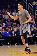 Feb 13, 2017; Phoenix, AZ, USA; Phoenix Suns guard Devin Booker (1) reacts after a play in the first half of the NBA game against the New Orleans Pelicans at Talking Stick Resort Arena. Mandatory Credit: Jennifer Stewart-USA TODAY Sports