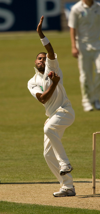 Jeetan Patel bowls during the match between England Lions and the New Zealanders at The Rose Bowl, Southampton. Photograph © Graham Morris/cricketpix.com (Tel: +44 (0)20 8969 4192; Email: sales@cricketpix.com) Ref. No. 08137h60