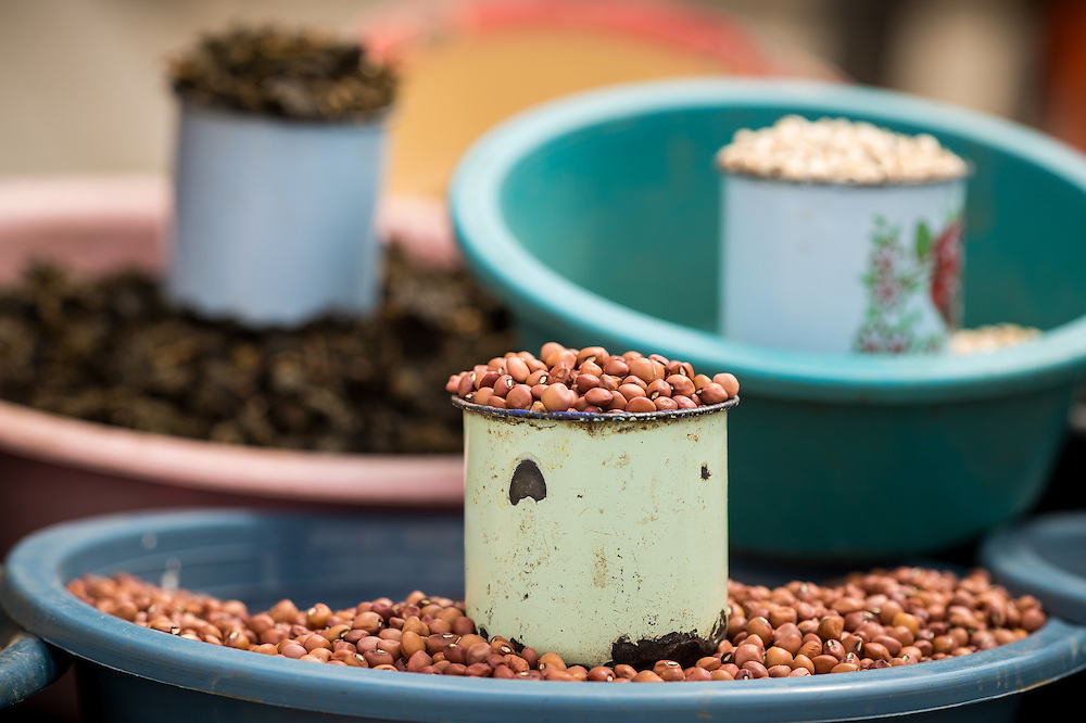 Maun, Botswana, Africa- Beans in cups and bowls