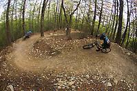 Mountain biking in the blue ridge mountains at Carvins Cove in Roanoke, Virginia.