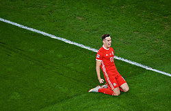 CARDIFF, WALES - Thursday, September 6, 2018: Wales' Tom Lawrence celebrates scoring the first goal during the UEFA Nations League Group Stage League B Group 4 match between Wales and Republic of Ireland at the Cardiff City Stadium. (Pic by Laura Malkin/Propaganda)