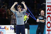Andy Murray warming up with fitness tests before the ATP World Tour Finals at the O2 Arena, London, United Kingdom on 20 November 2015. Photo by Phil Duncan.