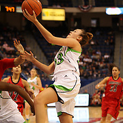 Michaela Mabrey, Notre Dame, in action during the Notre Dame Fighting Irish V Louisville Cardinals Semi Final match during the Big East Conference, 2013 Women's Basketball Championships at the XL Center, Hartford, Connecticut, USA. 11th March. Photo Tim Clayton